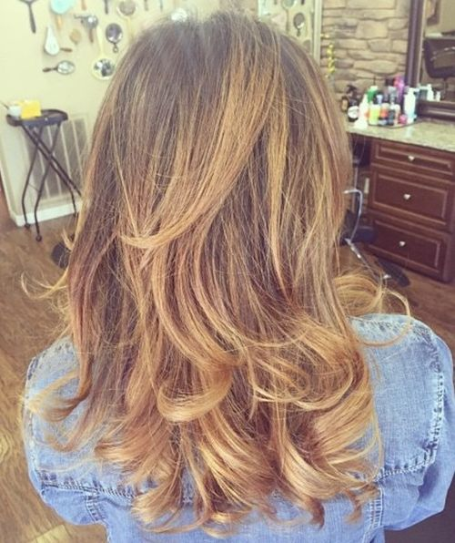 long layered brown blonde hairstyle