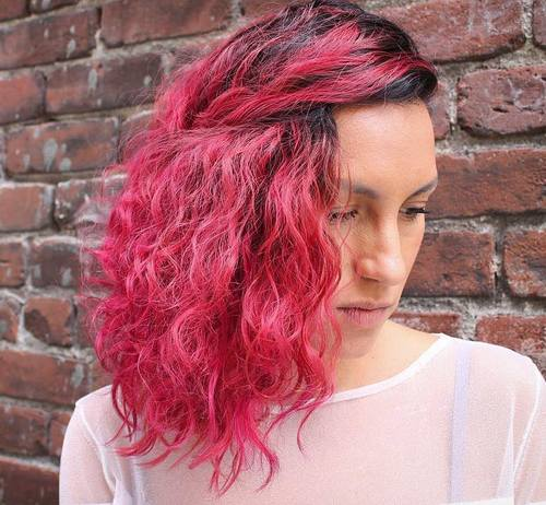 Side Curly Pink Hairstyle