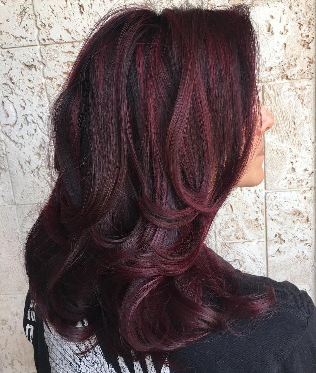 Maroon Streaks In Black Hair Www Pixshark Com Images