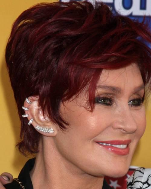 Sharon Osbourne burrgundy hair color for older women