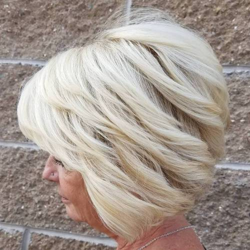 Stacked Blonde Bob For Older Women