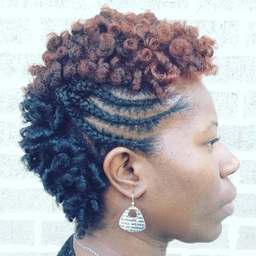 African American Two-Tone Braided Mohawk