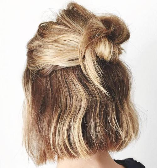 half hairstyles : Easy Half Up Bob Hairstyle