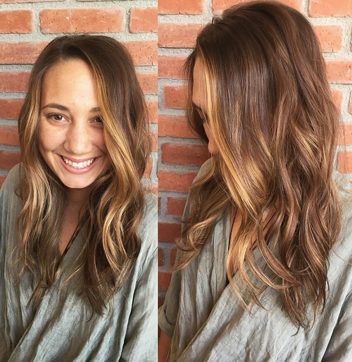 Light brown hair color with dark highlights