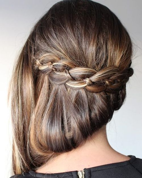 side hairstyle for straight hair with waterfall braid