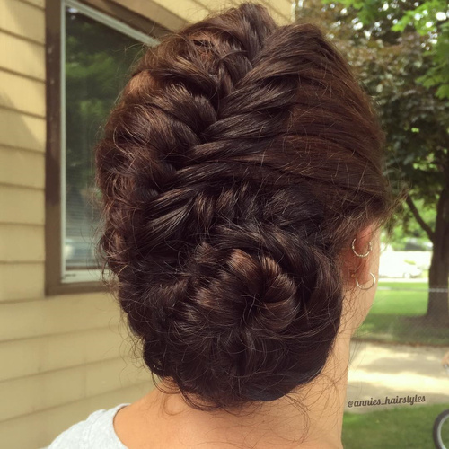 asymmetrical low fishtail bun