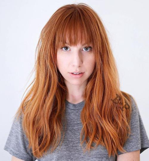 Long Layered Copper Red Hair With Bangs