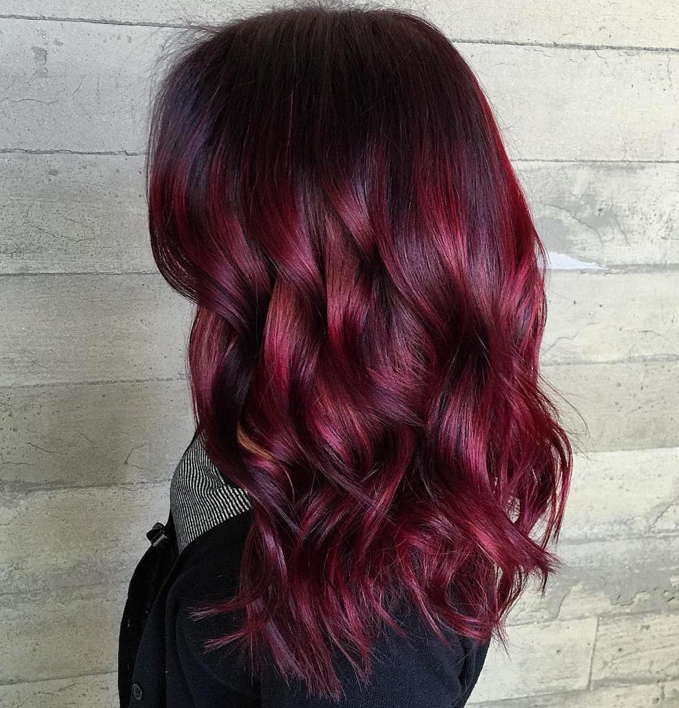 Bright burgundy hair