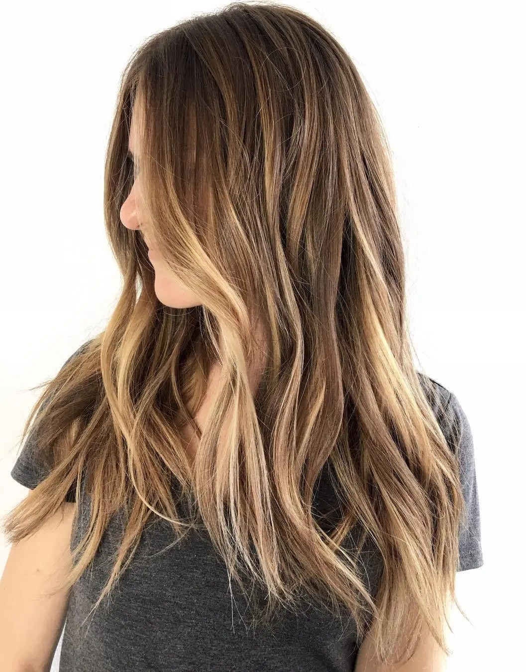 Dark Brown Hair Can Try Caramel Brown Highlights How