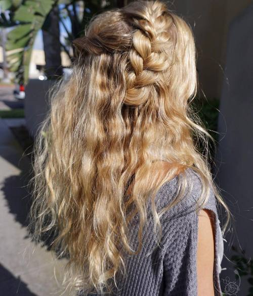Braided Half Updo For Wavy Hair