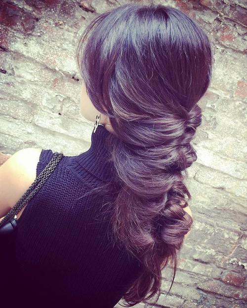 messy braided downdo for long thick straight hair