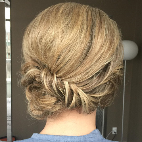 updo with fishtail braid for medium hair