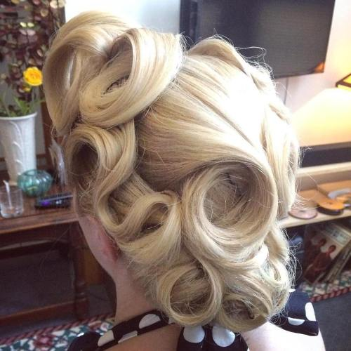 Vintage Updo With Pin Curls