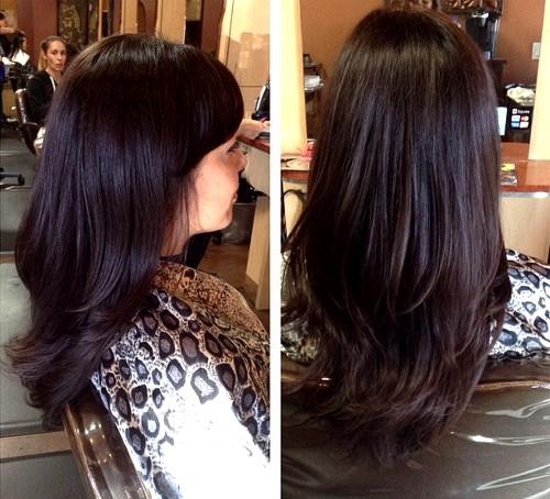 espresso brown hair layered haircut