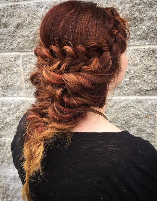 messy braided downdo for long hair
