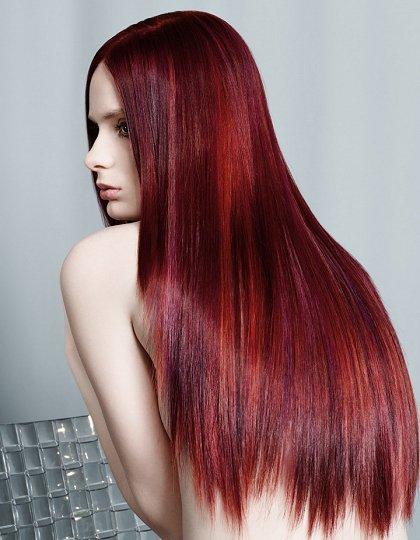 bright burgundy hair with highlights