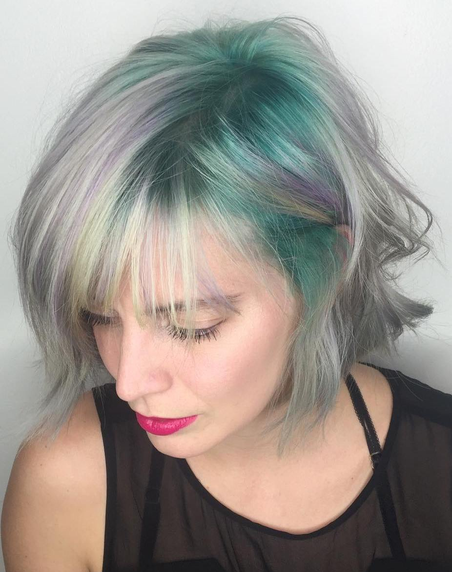 Silver Bob With Teal Roots