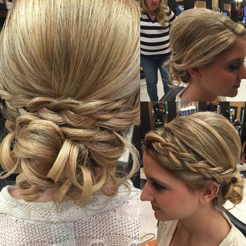 fancy curled updo with a braid