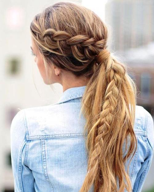 long messy pony with a braid