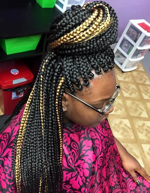 bun half updo for highlighted box braids