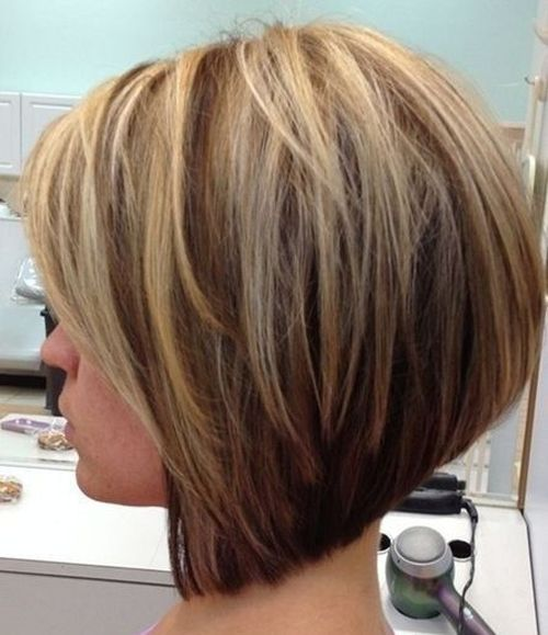 Layered And Angled Brown Blonde Bob