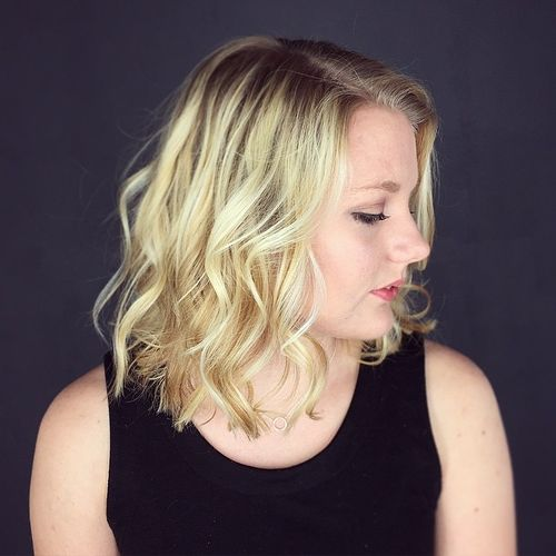 curly lob hairstyle for fine hair