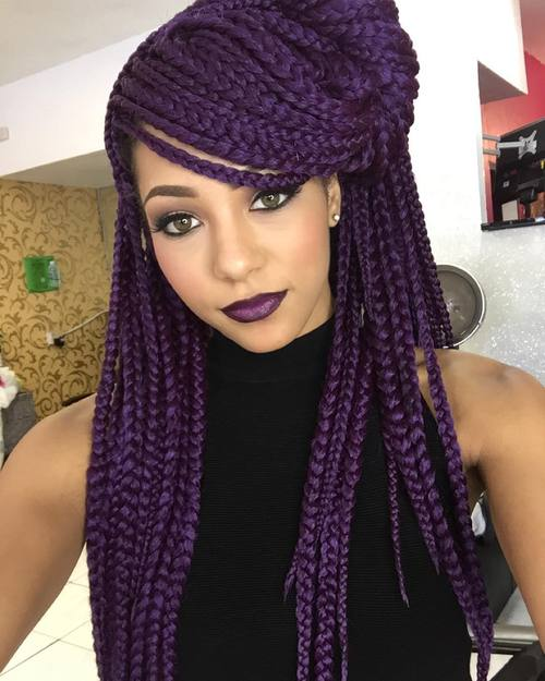 long curly sew in hairstyles : How To Style Long Box Braids Pictures to pin on Pinterest