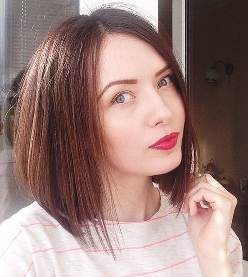 long angled bob hairstyle for thin hair