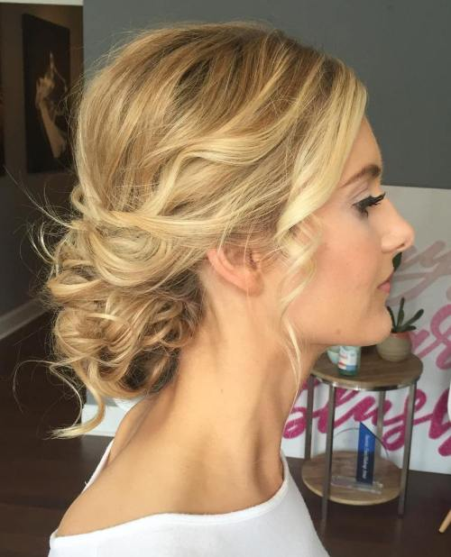 Wavy Blonde Updo For Thin Hair