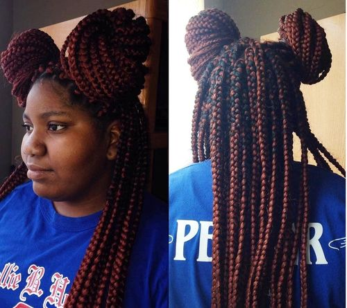 two buns from box braids