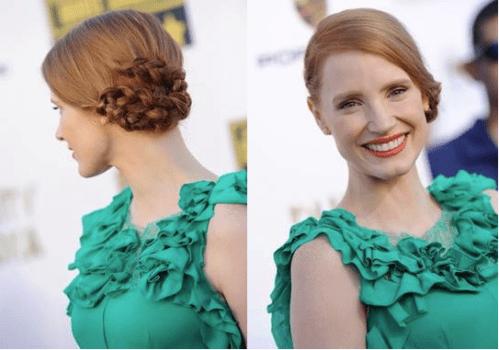 Jessica Chastain asymmetric braided updo for fine hair