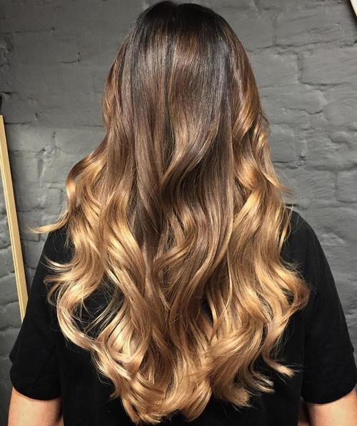 brown to blonde long ombre hair