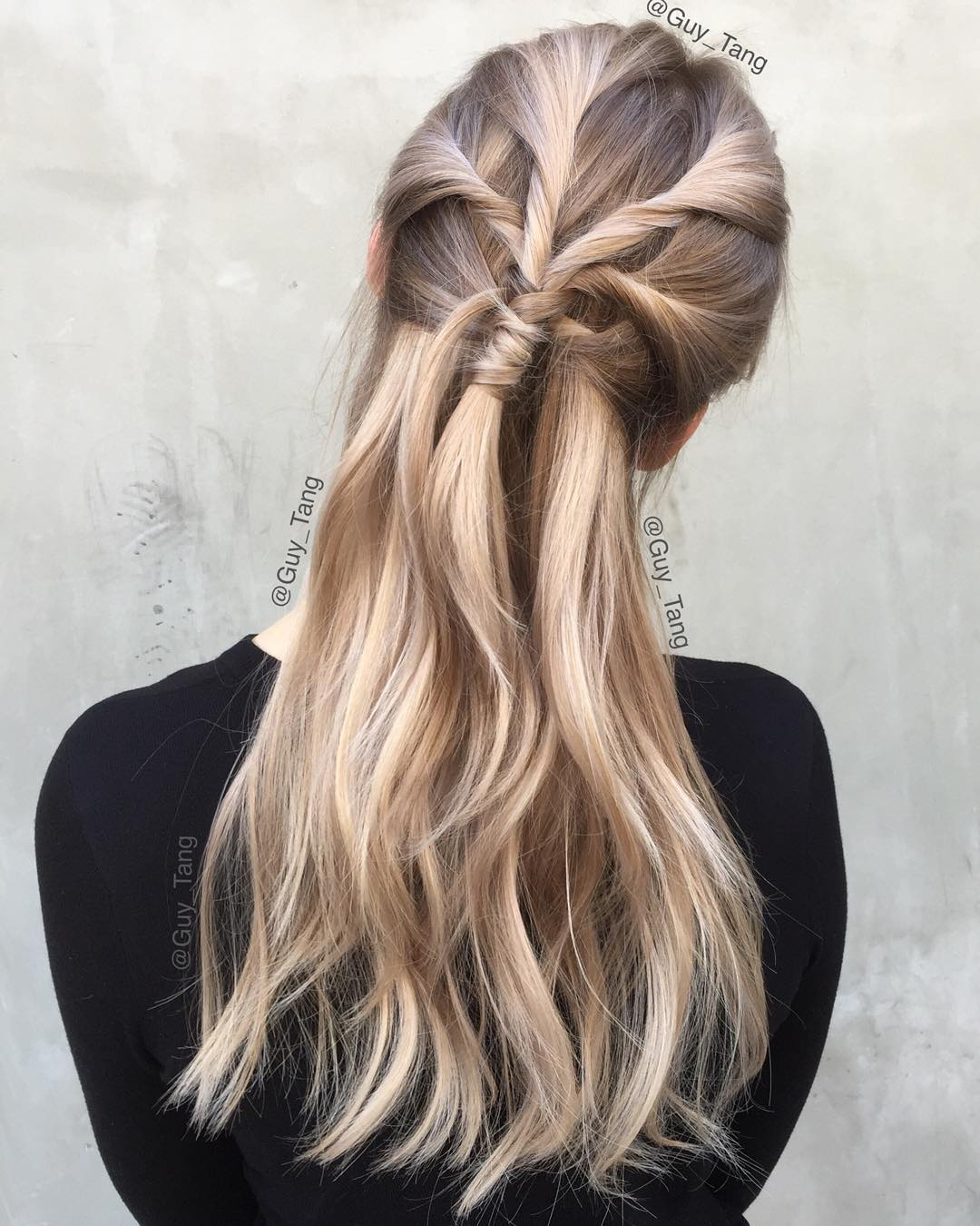 Twisted Half Updo For Long Hair