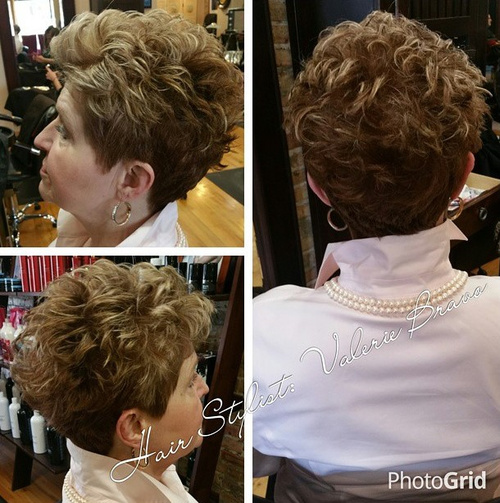 voluminous short curly hairstyle