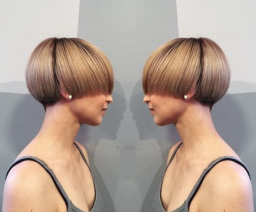 short roller set hairstyles : One Length Short Hairstyle