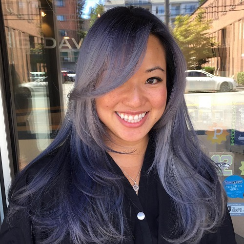 Long Pastel Purple Hair With Long Side Bangs