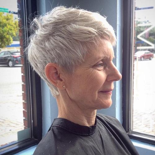 Older Women's Gray Pixie Hairstyle