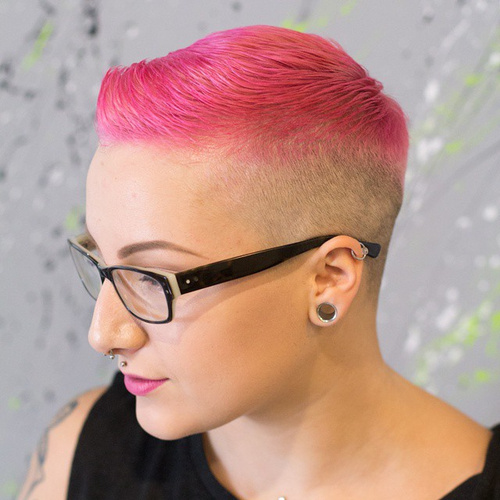 Pink And Blonde Extra Short Hairstyle