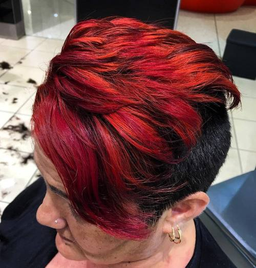 Black And Red Undercut For Women Over 50