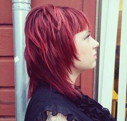 layered medium cherry-red hairstyle