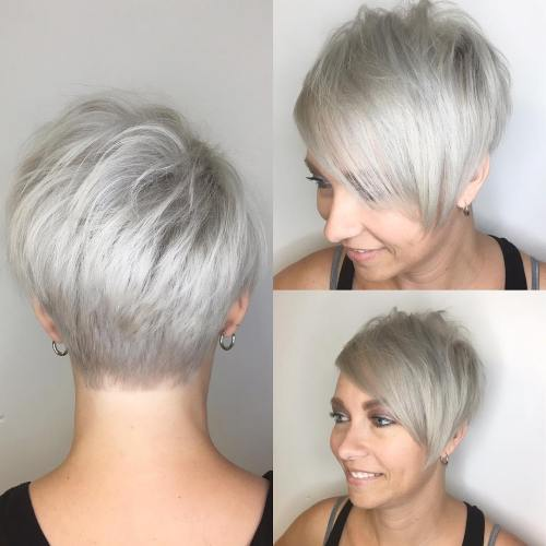 Silver Blonde Pixie With Bangs
