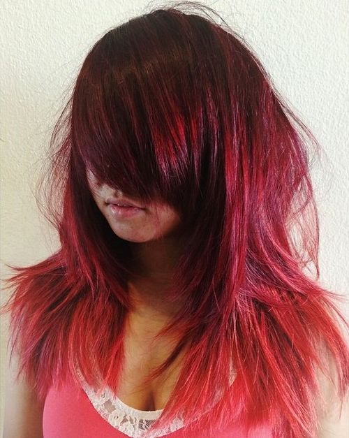 burgundy ombre shag hairstyle