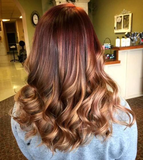 burgundy to light brown ombre with caramel highlights