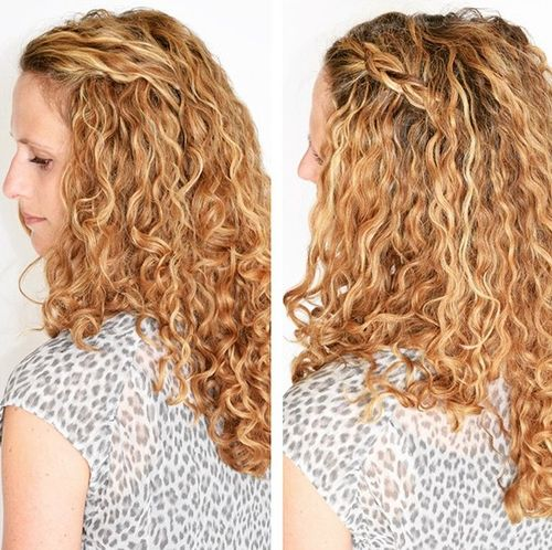 long curly hairstyle with a side braid