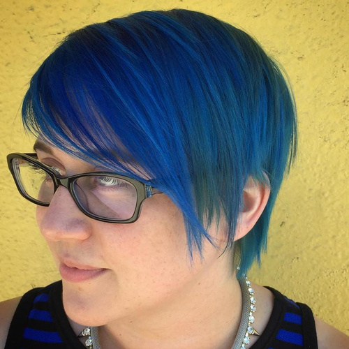 Long Electric Blue Pixie