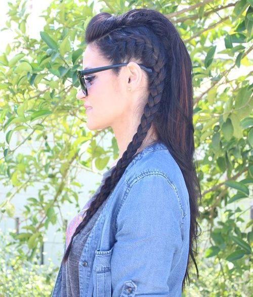 Loose Braided Faux-Hawk Hairstyle