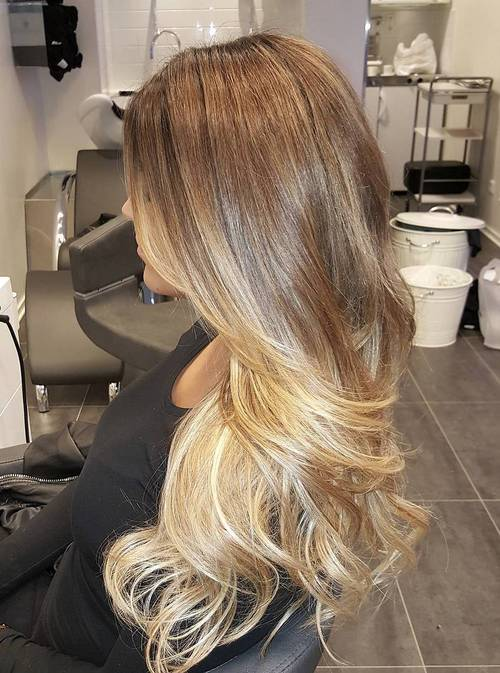 Fashion week Light and blonde brown ombre hair for lady