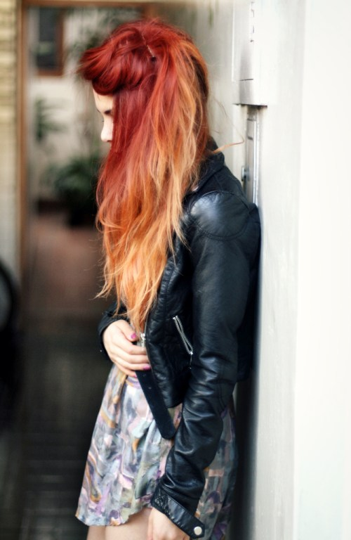 red to strawberry blonde ombre