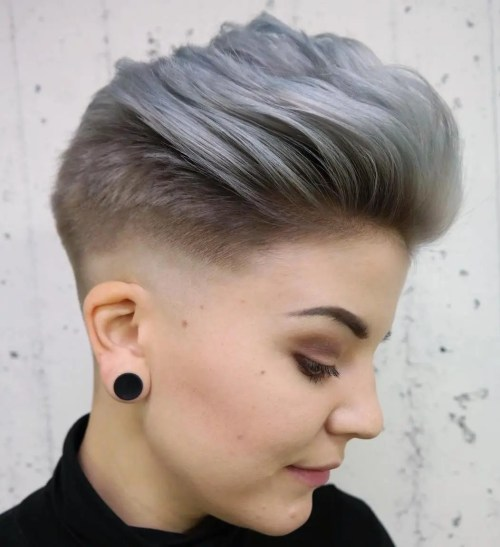 Long Top Fade Haircut For Girls