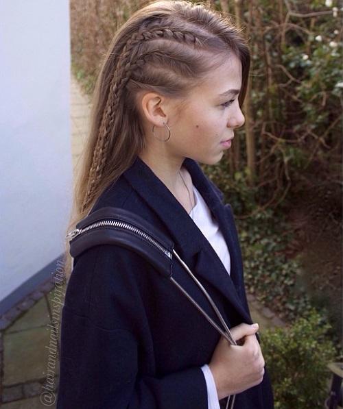 Triple Braid Asymmetrical Side Teen Hairstyle
